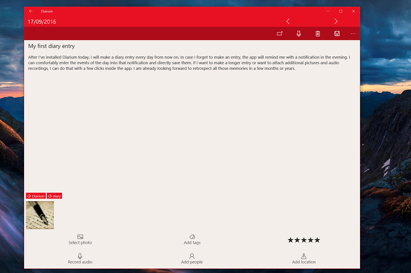 Record Your Diary Thoughts With Diarium On Windows 10