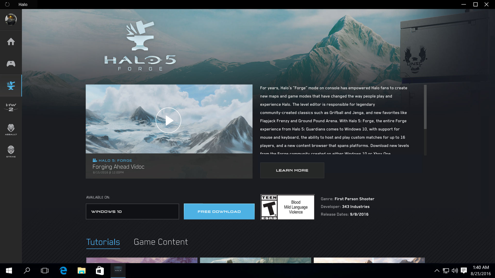 Microsoft Teases Halo 5: Forge App For Windows 10 PCs