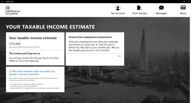 See Taxable Income Estimates With HMRC Windows 10 App