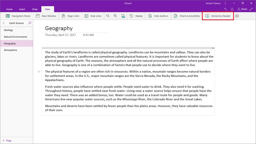 Microsoft Brings Immersive Reader To OneNote