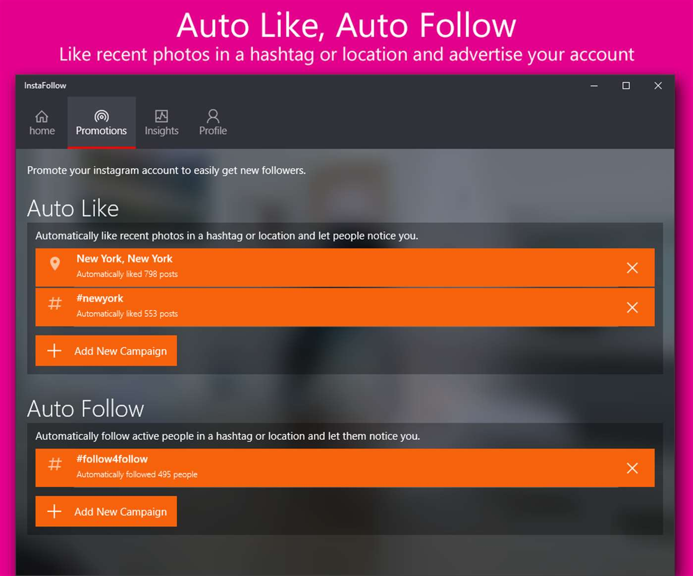 Auto Like & Auto Follow With InstaFollow On Windows 10