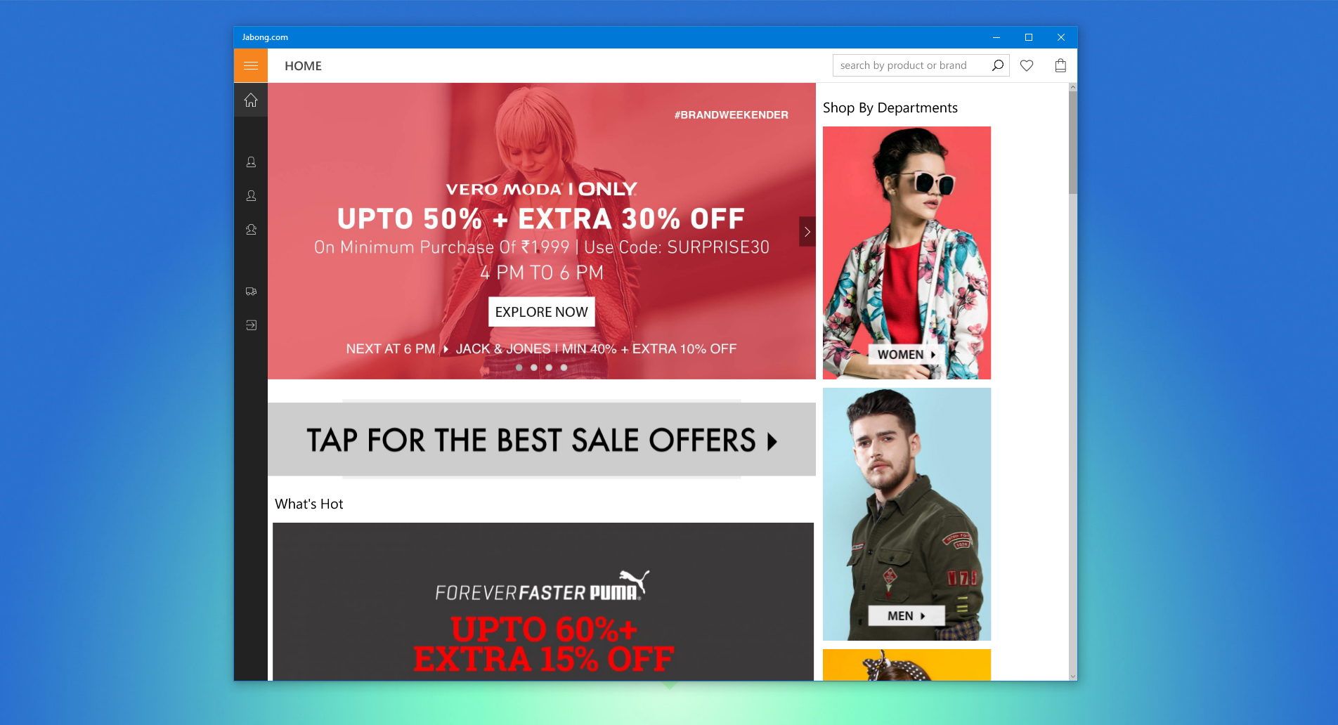 Shop Jabong's Indian Marketplace With Windows 10