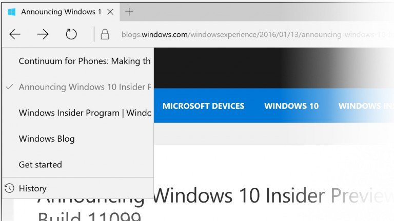 Microsoft Gives Edge Browser History Menu In Insider Update