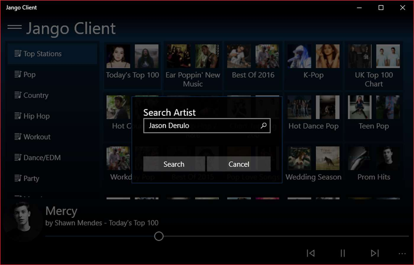 Search For Favorite Artists With Jango Radio Client