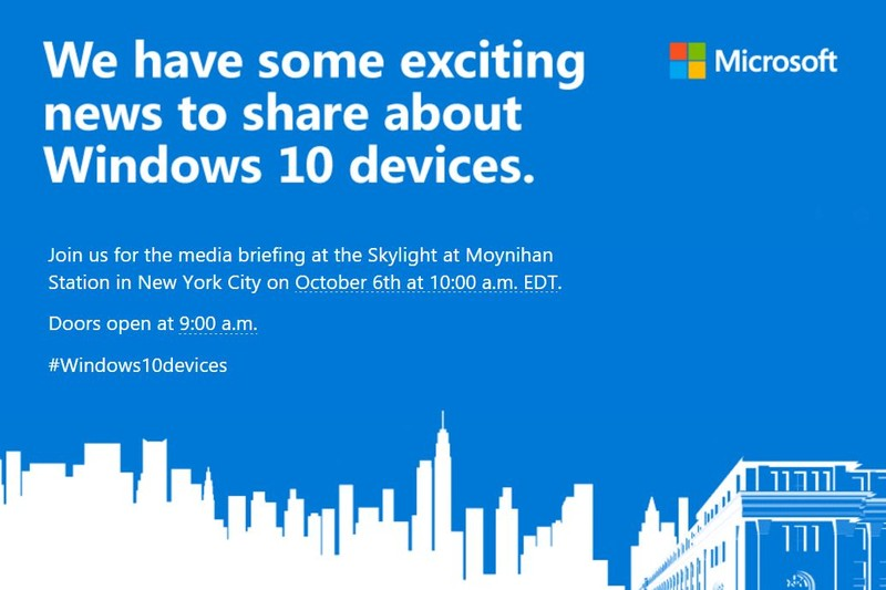 Microsoft Invites Media To Windows 10 Event On Tuesday October 6th
