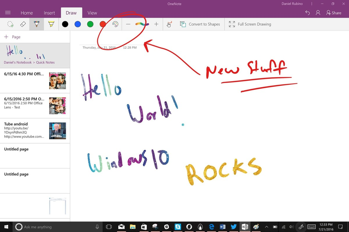 OneNote On Windows 10 Gets Ink Effects