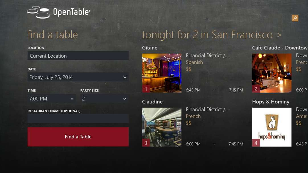 Reserve Your Next Table With OpenTable On Windows 10
