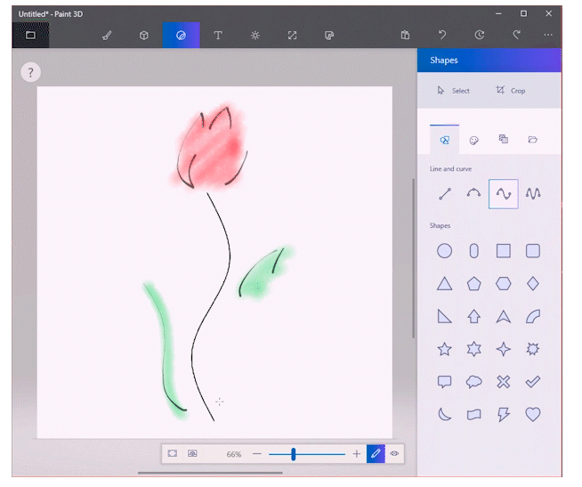 Line & Curve Tools Come To Paint 3D App On Windows 10