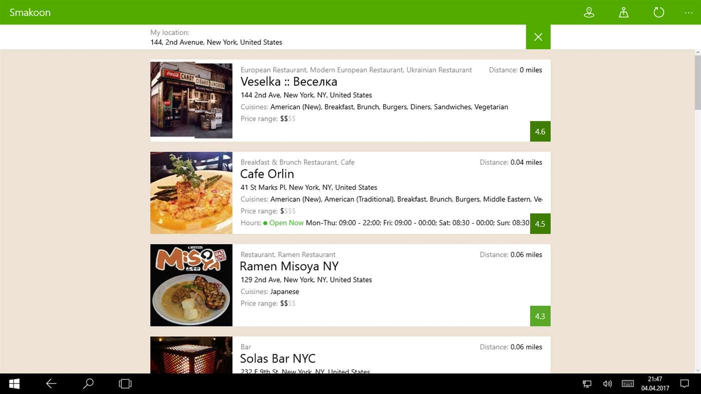 Use Smakoon To Find Your Restaurants Using Windows 10