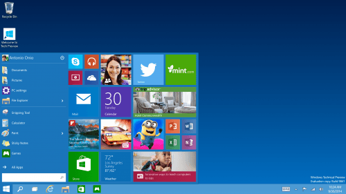 Microsoft Updates Windows 10 Preview With Start Menu Improvements