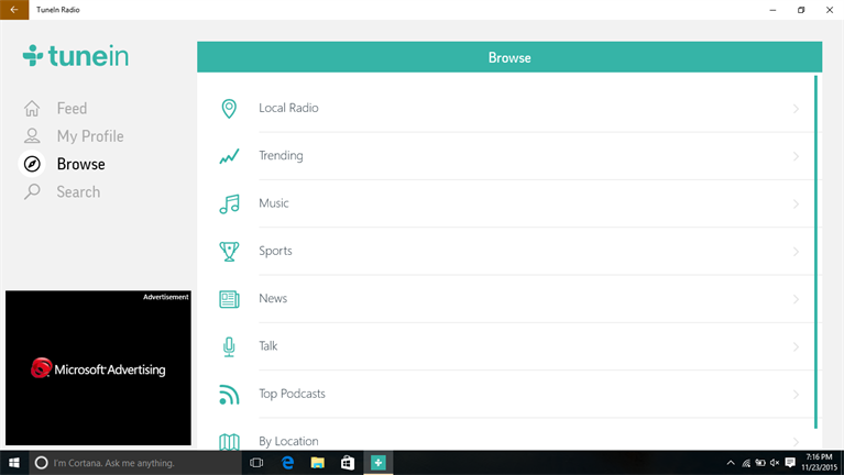 Browse Radio Stations To Enjoy With TuneIn Radio App On Windows 10
