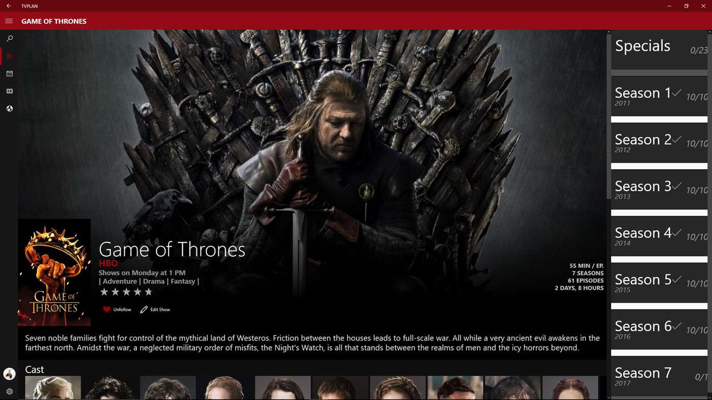 Organize Shows Like Game Of Thrones On Your Windows 10 PC Or Mobile Device For Free