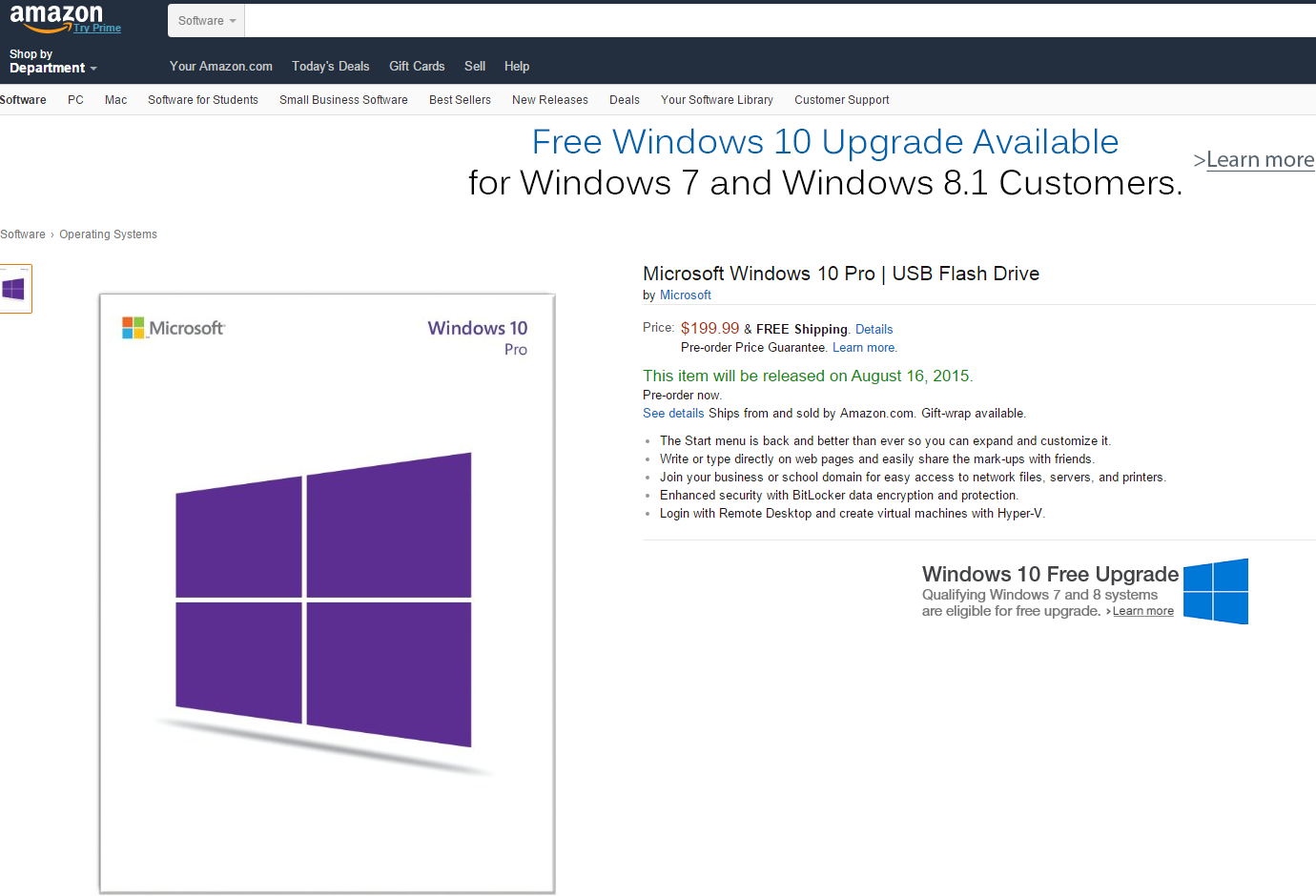 Microsoft Makes USB Versions Of Windows 10 Available Via Amazon