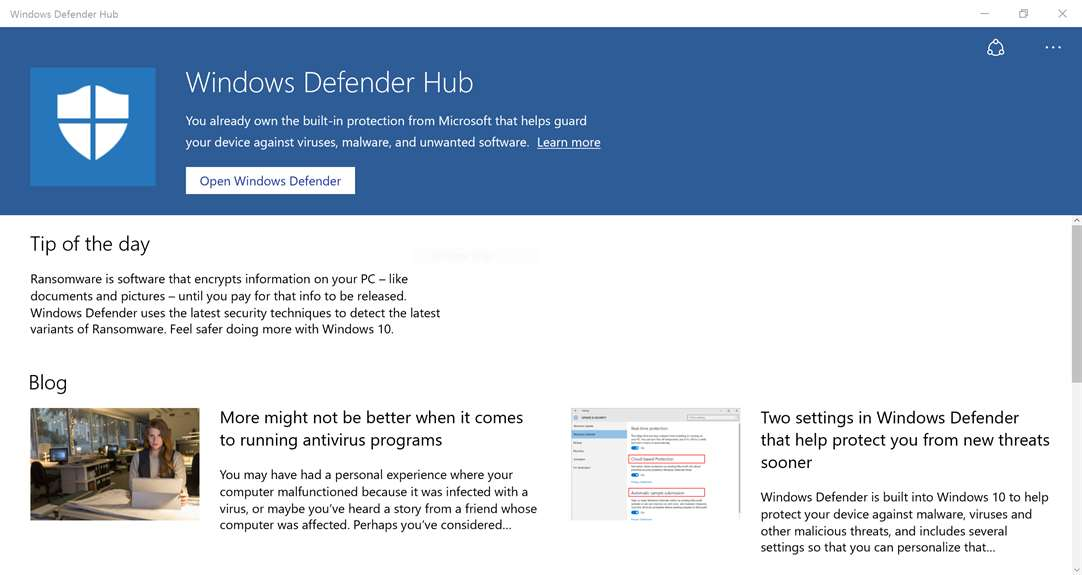 Windows Defender Hub Is A Free Security Download From Microsoft