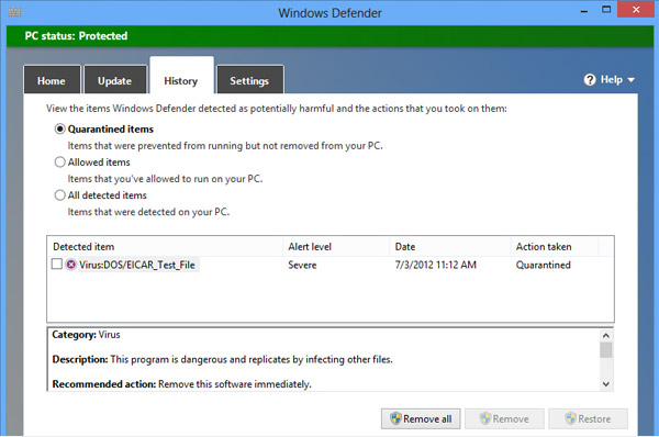 Windows Defender Security Built Into Windows 10