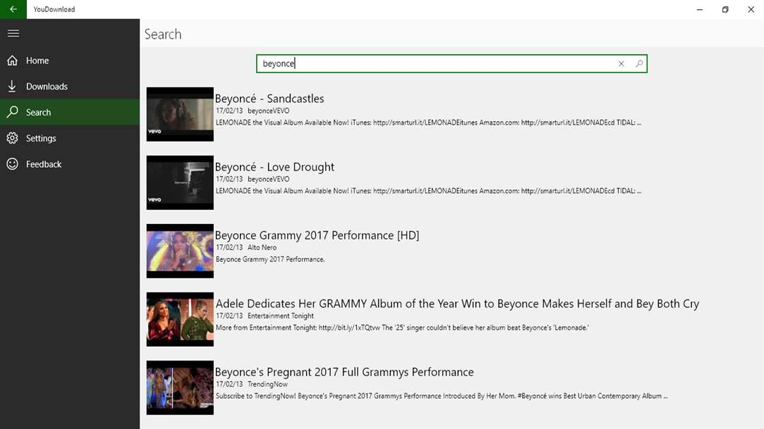 Search & Download YouTube Videos With YouDownload On Windows 10