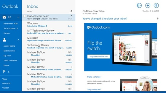 Outlook.com Deeply Integrated Into Windows 8.1