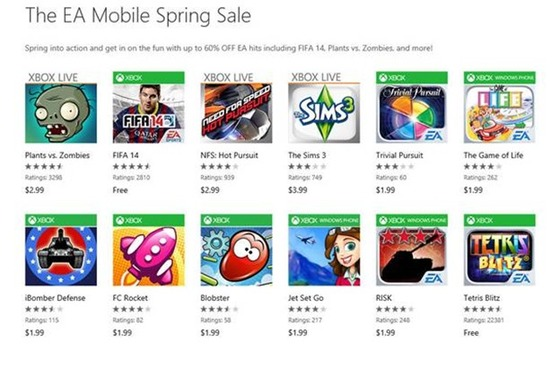 Microsoft And EA Team Up For Windows Phone Sale