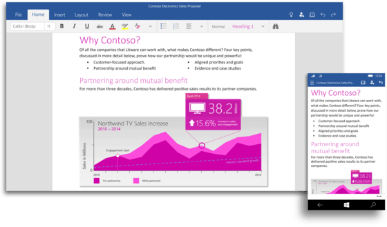 Microsoft Debuts Universal Office Apps For Office Line and Windows 10