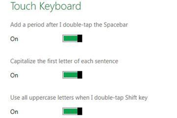 Change touch keyboard behaviour in Windows 8 (double-tap, capitalize, etc)