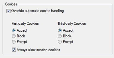Internet: How to enable or disable cookies in Windows 8