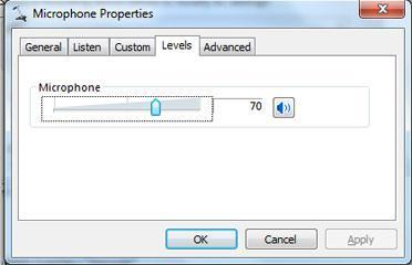 How to change microphone level / sensitivity in Windows 7