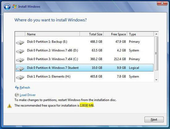 Recommended space for Windows 7
