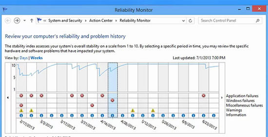 Use Reliability Monitor To Find Cause For System Crash / Blue screens and Improve System Stability