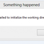 setup has failed to initiliaze the working directory png