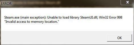 Steam main exception: Unable to load library SteamUI.dll