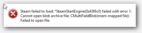 Fix Steam Failed To Load: Failed With Error 1 Cmultifield Blob