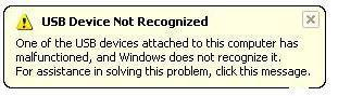 USB device not recognized in Windows 7