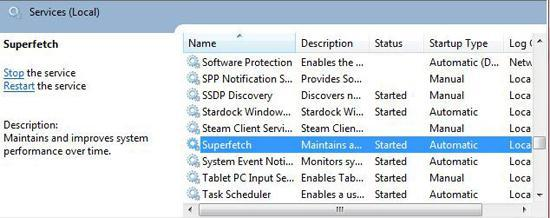 How to disable Superfetch in Windows 7?