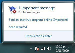 Windows 7: Turn off Action Center Notifications