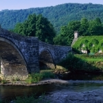 Arch Bridge and Moss Covered House, Wales, UK